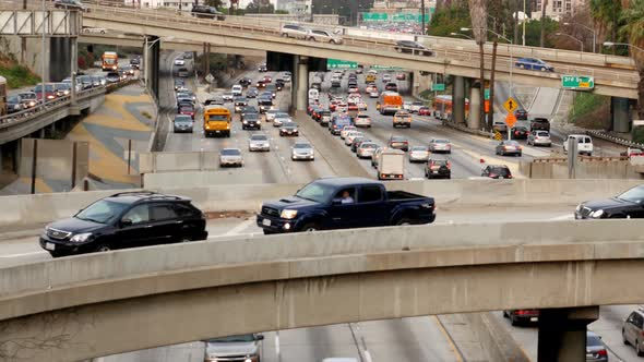 Traffic On Busy Freeway In Downtown Los Angeles California 21