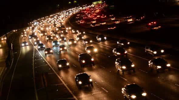 Fast Evening Rush Hour Traffic On Busy Freeway In Los Angeles 1