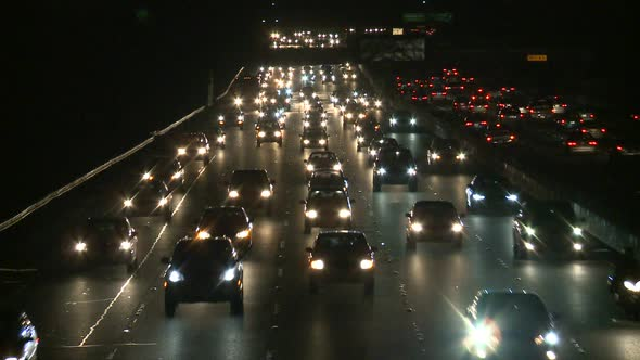 Traffic On The Busy Freeway At Night