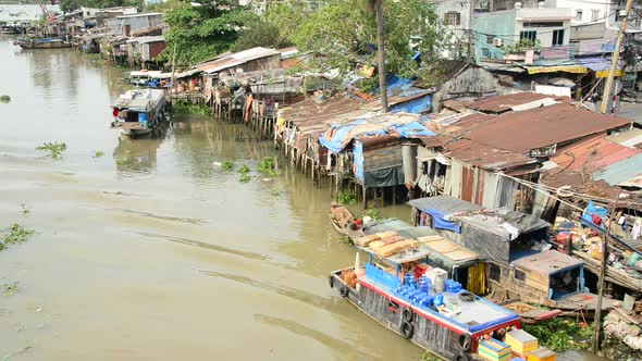 Boats And Shacks On The Saigon River Ho Chi Minh City Saigon 2
