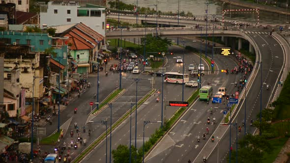 Traffic On Busy Street In Downtown Ho Chi Minh City Vietnam 2