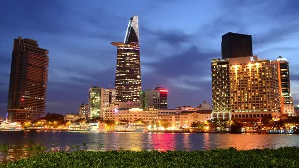 Scenic Ho Chi Minh City Saigon Skyline At Night Vietnam 13