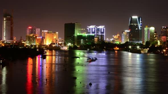 Scenic Ho Chi Minh City Saigon Skyline At Night Vietnam 2