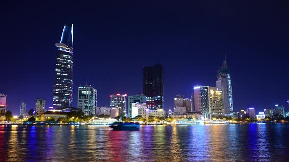 Scenic Ho Chi Minh City Saigon Skyline At Night Vietnam 23