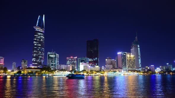 Scenic Ho Chi Minh City Saigon Skyline At Night Vietnam 24