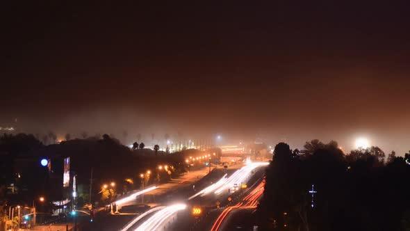 Fog Creeps Over Los Angeles Freeway 2