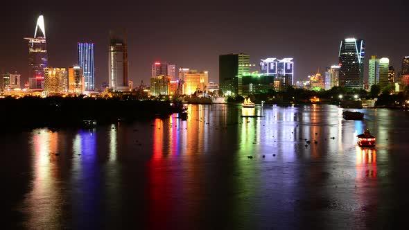 Scenic Ho Chi Minh City Saigon Skyline At Night Vietnam 8
