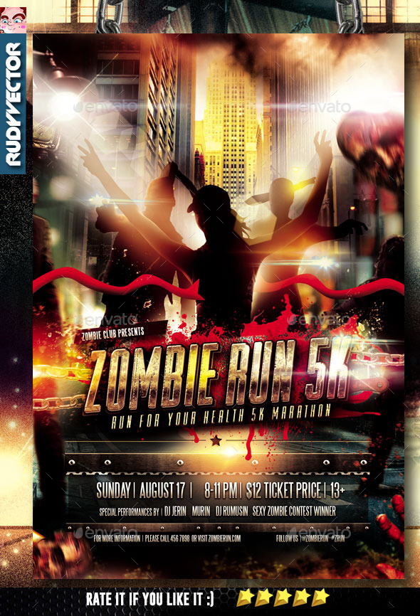 GraphicRiver Zombie Run Marathon Event Flyer 10975960