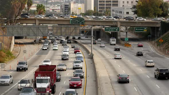 Traffic On Busy Freeway In Downtown Los Angeles California 30
