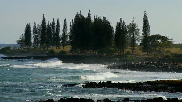 Waves Crashing On Rocky Shore Clip 3