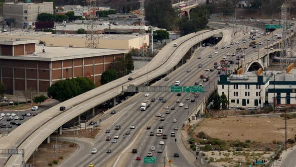 View Of Traffic On Busy Freeway In Downtown Los Angeles California 38