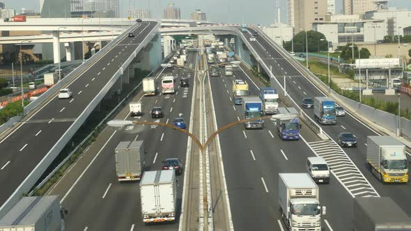 Heavy Truck Traffic On Japanese Highway Tokyo Japan 6