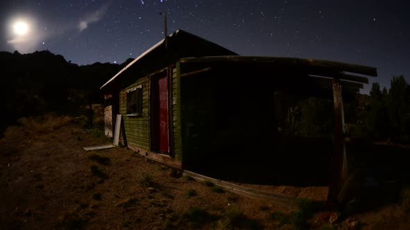 Abandon House In The Desert At Night