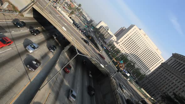 VideoHive Heavy Traffic On Overpass On The 101 Freeway In Downtown Los Angeles 10976670
