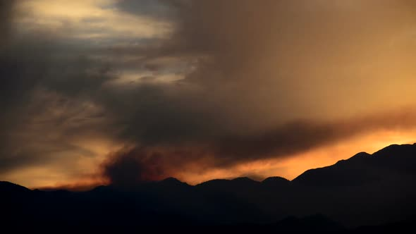 Smoke From Forest Fire During Sunset 1