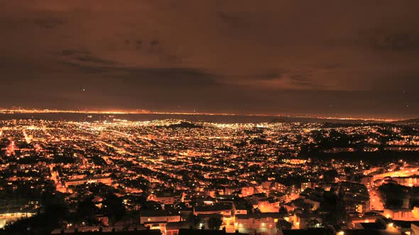 City Of San Francisco At Night From Twin Peaks Clip 1
