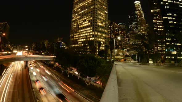 Time Lapse Of Buildings And Traffic In Los Angeles At Night 1