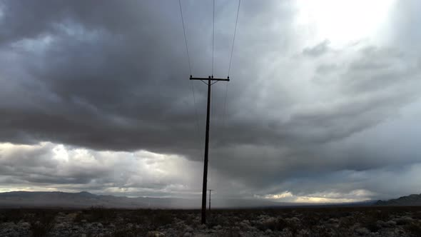 Time Lapse Of Telephone Pole The Mojave Desert Storm Clouds 4k