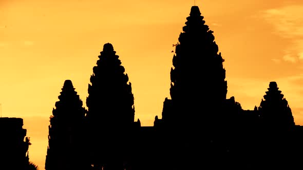VideoHive Zoom Out Of Silhouettes Of Main Temple Spires At Sunrise Angkor Wat Cambodia 1 10977190