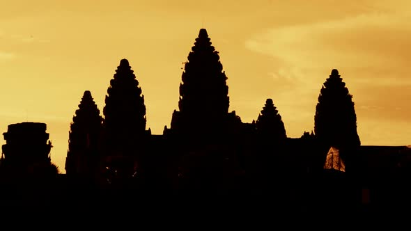 VideoHive Zoom Out Of Silhouettes Of Main Temple Spires At Sunrise Angkor Wat Cambodia 2 10977198