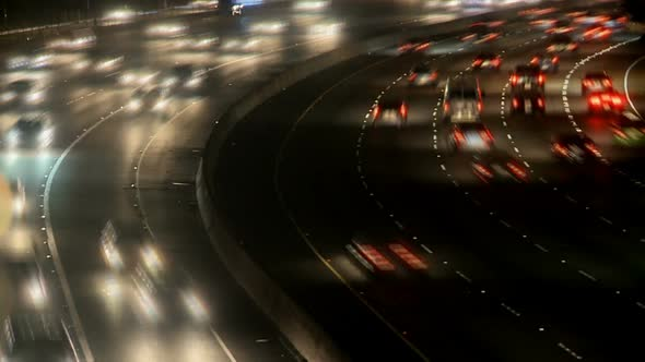 Busy Highway At Night Los Angeles 1