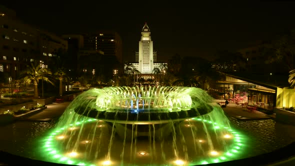 Los Angeles City Hall And Fountain Nighttime 2