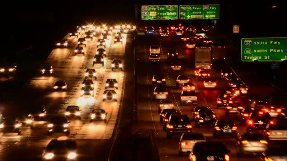 Busy Los Angeles Freeway Traffic At Night 1