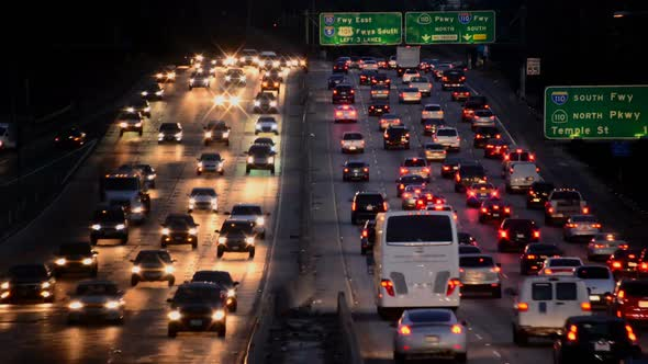 Busy Los Angeles Freeway Traffic At Night 3