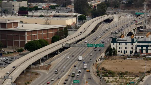 Traffic On Busy Freeway In Downtown Los Angeles California 64