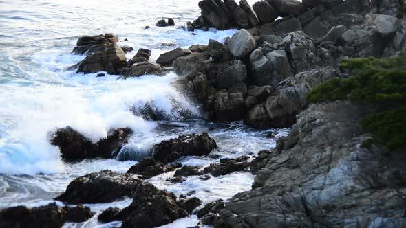 Pacific Ocean Waves Crashing On Rocks Big Sur 3