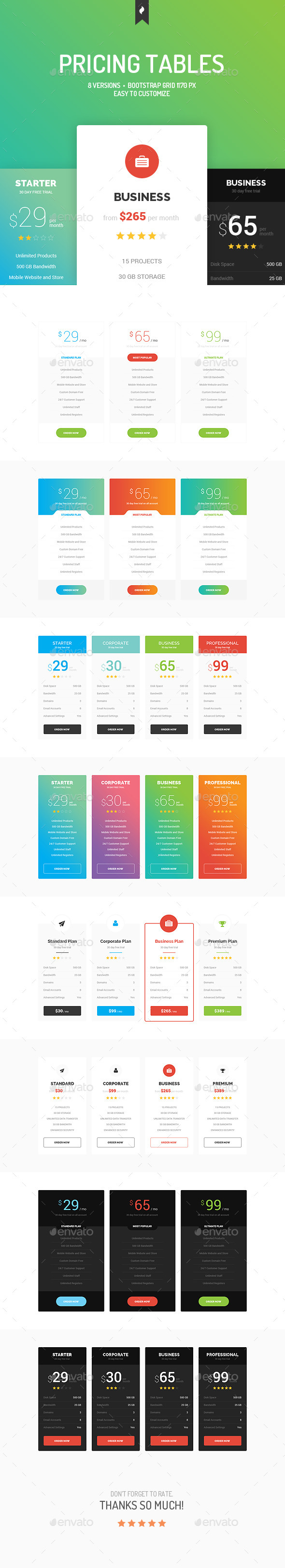 GraphicRiver Pricing Tables 10961155