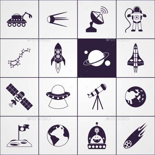 GraphicRiver Space Icons Black 10978192