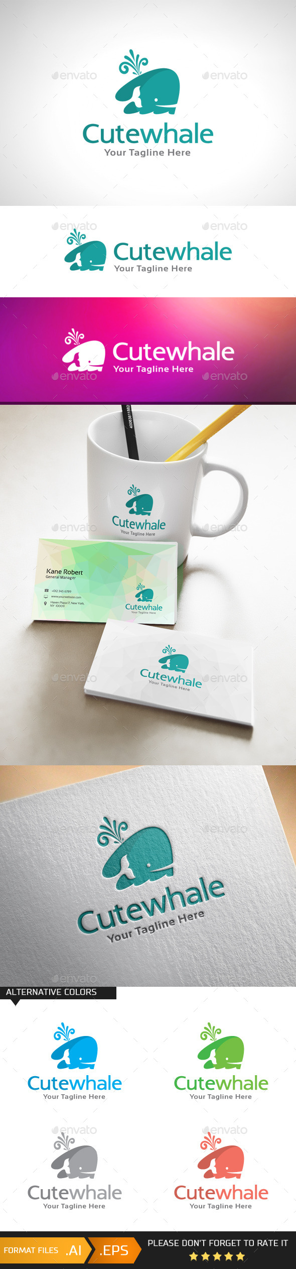 GraphicRiver Cute Whale Logo Template 10978915