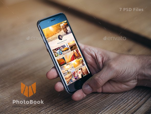 GraphicRiver PhotoBook Photo Sharing Mobile App Design 10979176