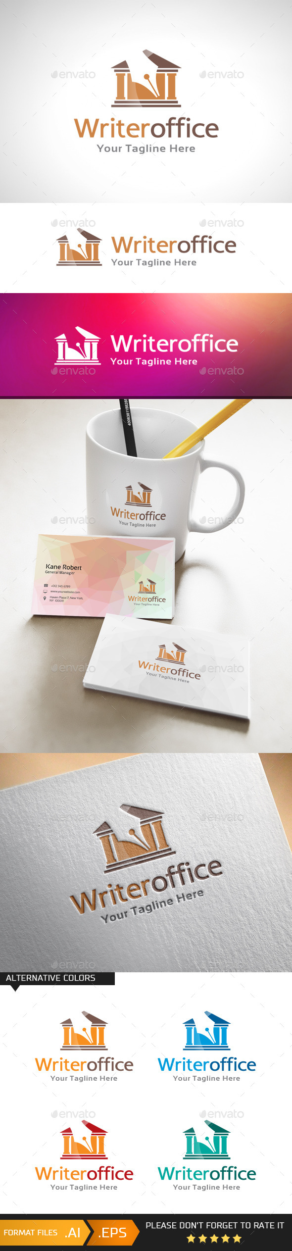 GraphicRiver Writer Office Logo Template 10979902