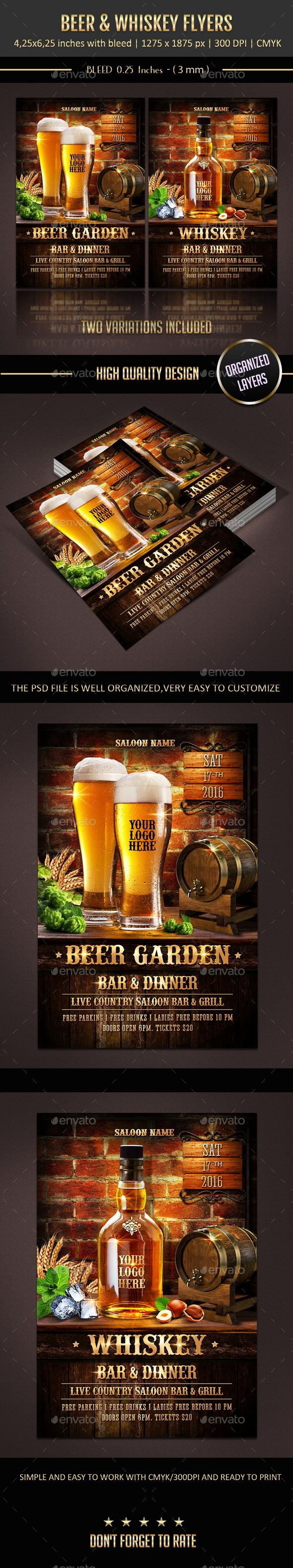 GraphicRiver Beer & Whiskey Flyers 10980435