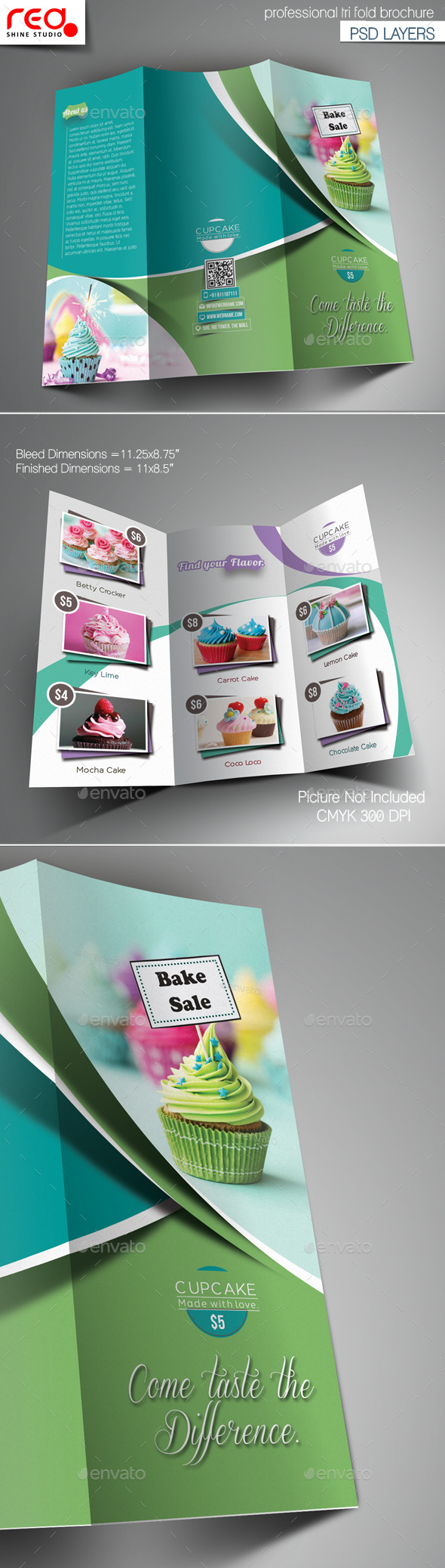 GraphicRiver Cupcake Trifold Brochure Template 10980499