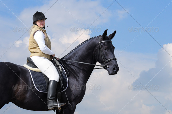 Woman and Black Horse - Stock Photo - Images