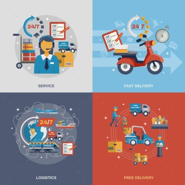 GraphicRiver Delivery Flat Set 10980636