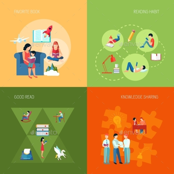 GraphicRiver Reading People Set 10980662