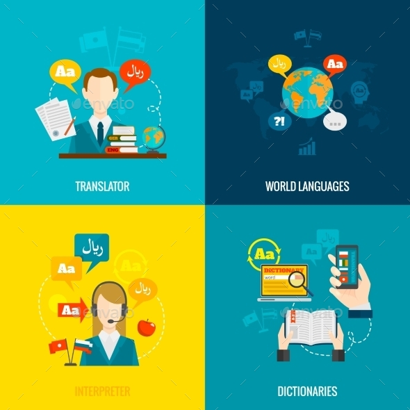 GraphicRiver Translation and Dictionary Flat Icons Composition 10980694