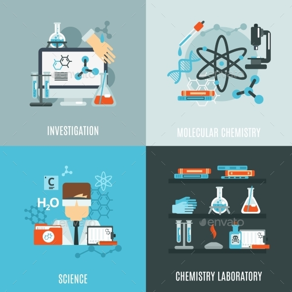 GraphicRiver Chemistry Flat Set 10980722