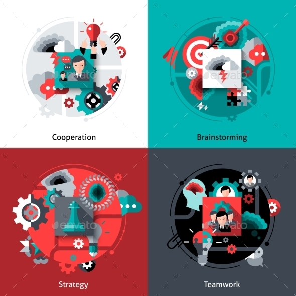 GraphicRiver Brainstorming And Teamwork Set 10980787
