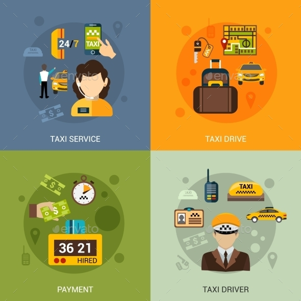 GraphicRiver Taxi Flat Set 10980982