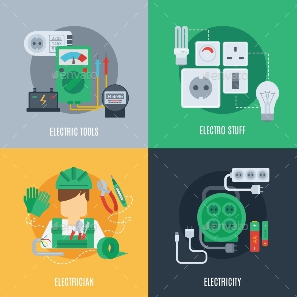 GraphicRiver Electricity Flat Icons 10980985