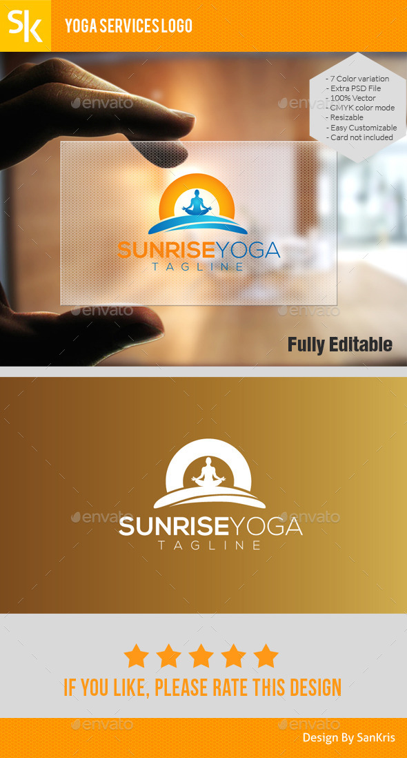 GraphicRiver Sunrise Yoga Logo 10966070