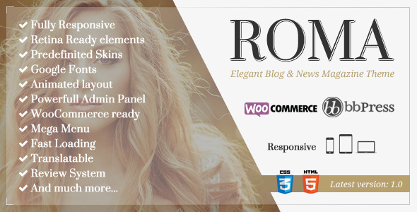 ThemeForest ROMA Elegant Blog & News Magazine Theme 10706948