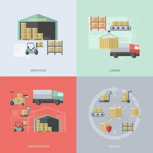 GraphicRiver Warehouse Flat Set 10981201