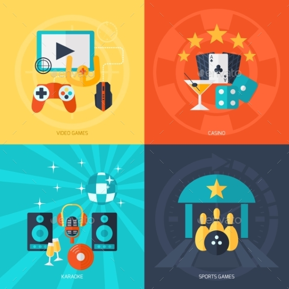 GraphicRiver Entertainment Flat Icons Set 10981203