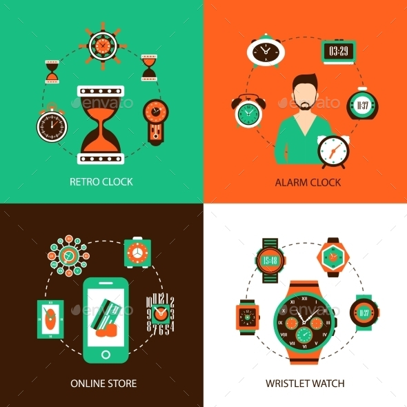 GraphicRiver Clock Design Concept Set 10981229